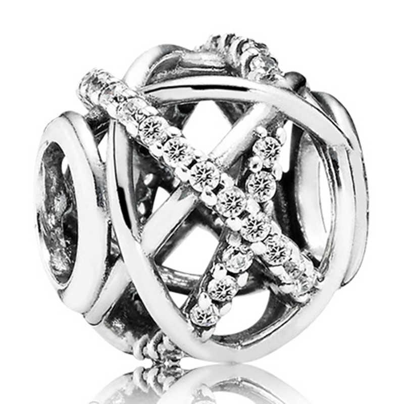 صالح الأصلي باندورا Charms الفضة سوار حلية مجوهرات للنساء جديد أسلوب بسيط كبير الكرة نجوم كريستال الزهور Bead بها بنفسك حبة