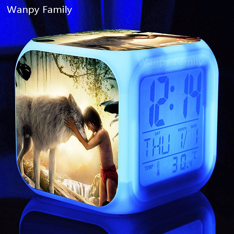 Jungle Book and Wolves Alarm Clocks,Glowing LED Color Change alarm clocks Kids Birthday Gift Multifunctio digital alarm clocks