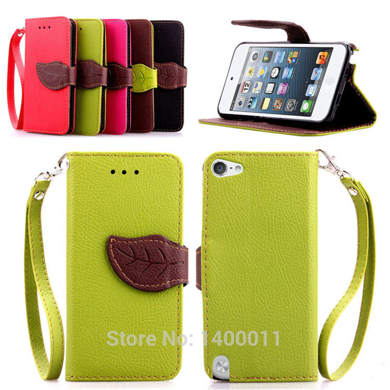 Fashion PU Leather Case Cover For Apple ipod Touch 5 6 Touch5 Touch6 Wallet Stand Card Holder & Flip Magnetic Chip Phone Cases