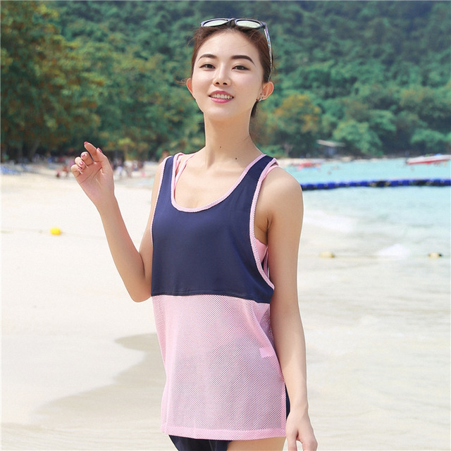 27908ae6674dda Free Shipping Woman Running Mesh Patchwork Tank Tops Outdoor Fitness Loose  VestTank