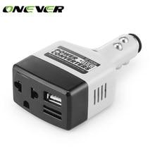 Onever DC 12 V için AC 220 V araba güç invertörü Dönüştürücü 6 W Modifiye Sinüs Dalga Güç için USB Çıkışı ile iphone 8 8 Artı Xiaomi