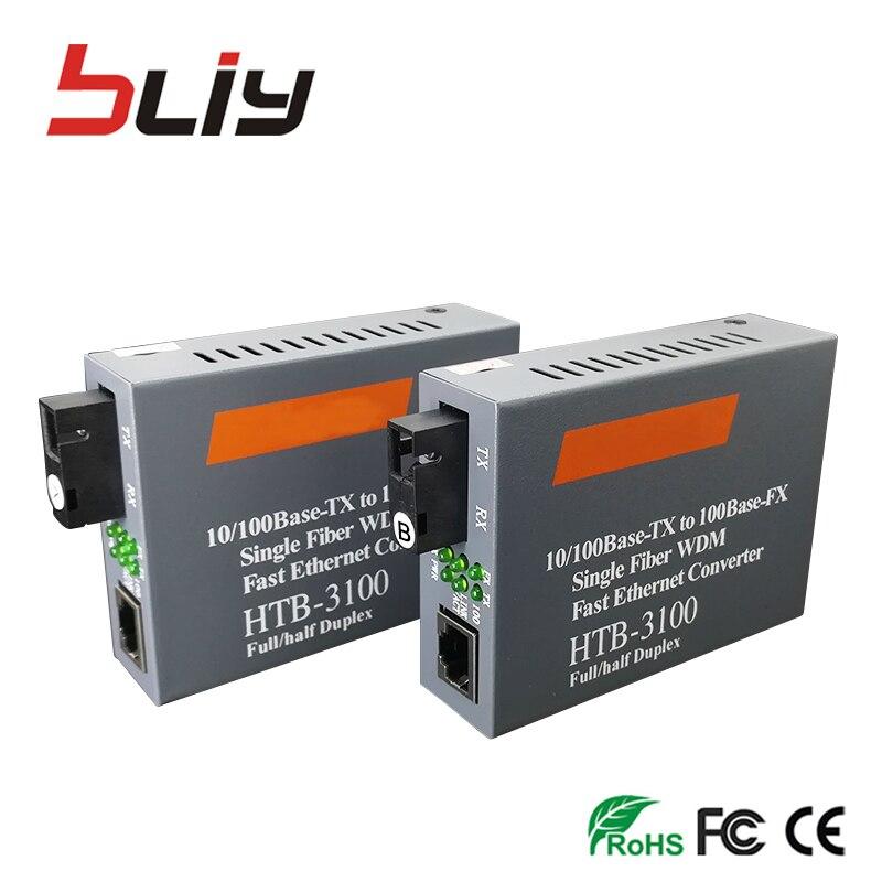Free Shipping 1 pair 3KM or 20km 10 100M single fiber optical fiber Media converter FTTH