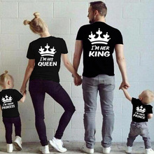 Family Matching Cotton T-shirt Crown King Queen Prince Princess T shirts Clothing Parent-Child Clothes Set 3XL YR9