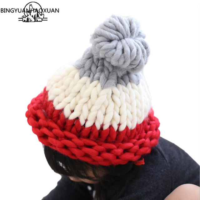 94c1eb0d7fa BINGYUANHAOXUAN New Solid Children Casual Cotton Acrylic Rushed Baby Girls Winter  Hats Hand Coarse Knitted Hat For Girls Beanies