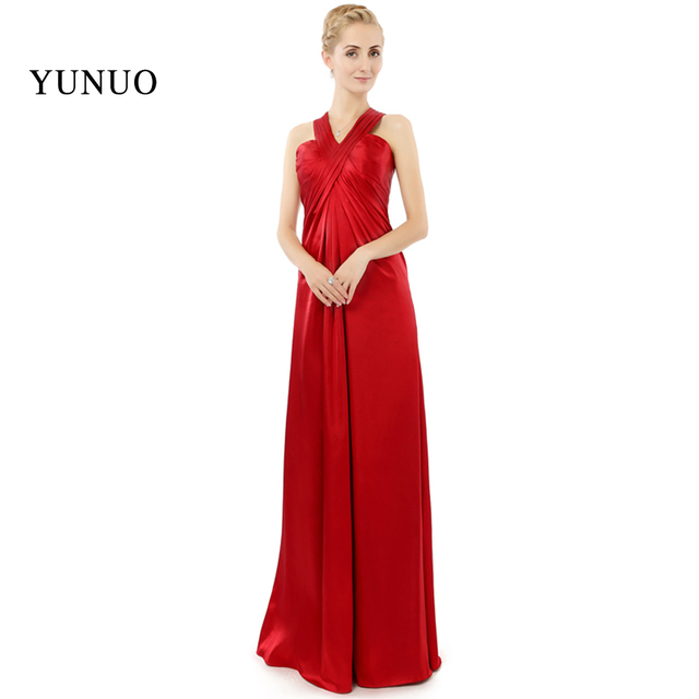 b5ef9156fe Real Photos Red Satin V Neck Tank Pleat Elegant Sexy A Line High Quality  Hot Sale Long Prom Dresses DNS- 61