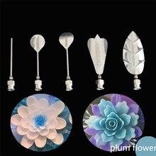 พลัมดอกไม้ 5 ชิ้น/เซ็ต 3D Jelly Artเครื่องมือเข็มเจลลี่เค้กเจลาตินพุดดิ้งหัวฉีดชุดเข็มฉีดยาหัวฉีดรัสเซีย