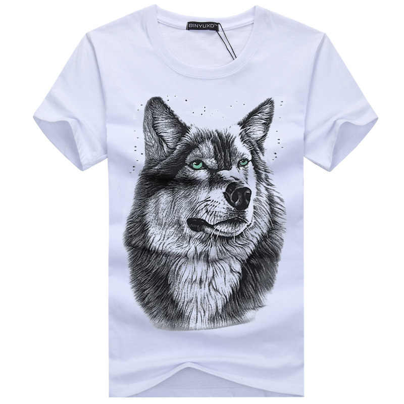 SWENEARO Men's clothing T-Shirt White T shirt Casual Cotton Wolf Printed Cartoon Short Sleeve Tee Shirt Men Brand Tee shirt 5XL