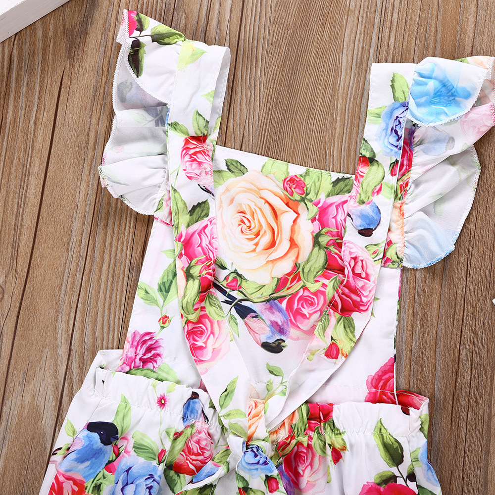 2018 Baby Bodysuit Floral Flutter Sleeve Bodysuit Baby Girl Outfits With Headband 2 Pcs Backless Newborn Onesie Summer Kids