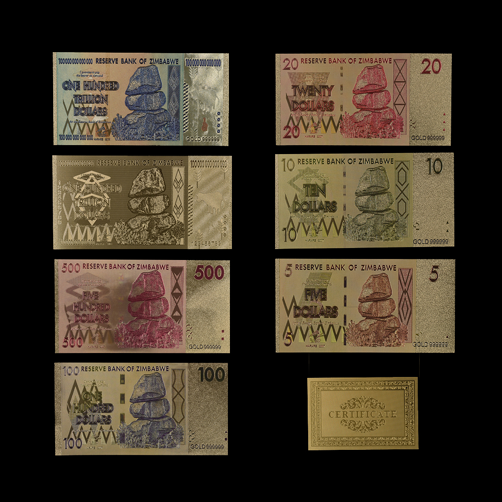 WR 100pcs Zimbabwe 100 Trillion Dollars Banknotes Color Gold Bill //w Certificate