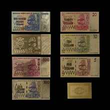 7PCS/lot Zimbabwe Colorful Gold Banknotes Set and 1 Certificate. Worth Collecting Gifting