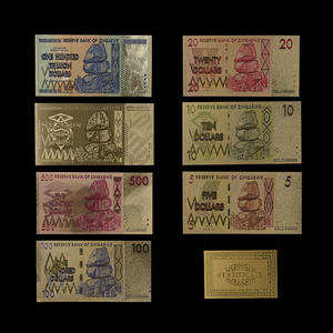 7PCS/lot Zimbabwe Colorful Gold Banknotes Set and 1 Certificate. Worth Collecting and Gifting(China)
