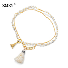 ZMZY Cute Beads Natural Stone Bracelet Gold Charm Bracelets for Women Fashoin Handmade Jewelry Chain Wedding Gift