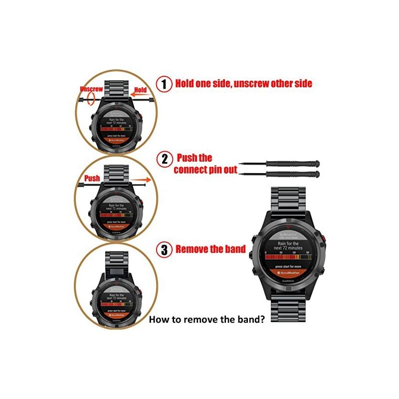Correa de metal de acero inoxidable de 22 mm de ancho para Garmin - Accesorios para relojes - foto 4