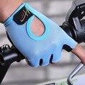 Ursfur antideslizante deporte hombres guantes sin dedos de las mujeres medio dedo guantes de gimnasio de fitness con gel acolchado lycra trabajo fuera mitones
