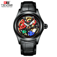 TEVISE Men's Skeleton Mechanical Wristwatch Leather Antique Steampunk Watch Casual Automatic Self Wind Watches Male Montre Homme