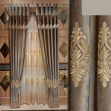 Пользовательские шторы Роскошные Европейский итальянский бархат Американский спальня вышивка экраны ткань плотные Тюль N212