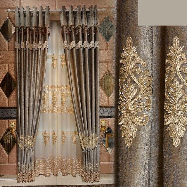 custom curtains luxury european italian velvet american bedroom embroidery screens cloth blackout curtain tulle n212 - Custom Curtains