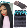 Malaysian Virgin Human Hair Straight With Closure 4 Bundles Malaysian Straight Hair With Middle Free Three Part Lace Closures