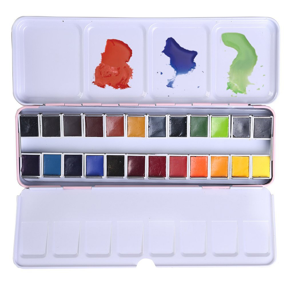 24 Цвета Профессиональный Портативный Пластик коробка твердой акварельной Живописи Набор для Книги по искусству ist акварель Книги по искусс