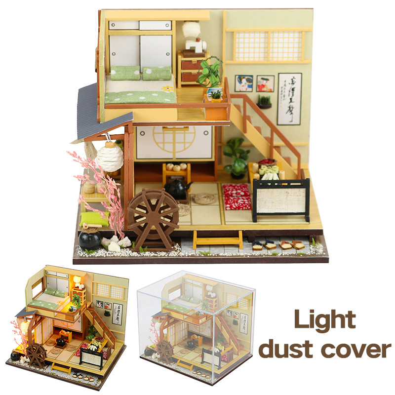 DIY Wooden Doll Houses Miniature Dollhouse Japanese Style Double Layer Loft Doll House  Furniture Kit Toy For Kids Birthday Gift