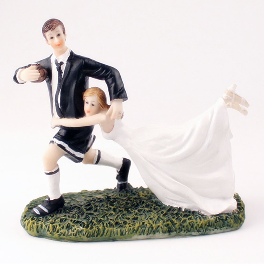 Wedding cake ornaments - Fishing Bride And Groom 1pcs Wedding Cake Toppers Couple Cake Decoration Unique Doll Mariage Casamento Ornament