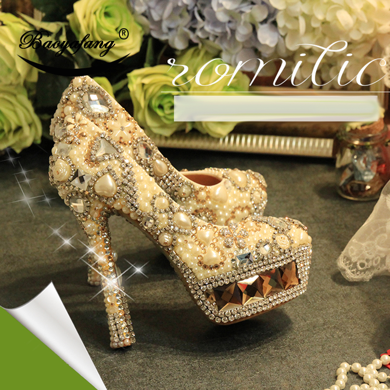 BaoYaFang real leather Women wedding shoes Champagne crystal ivory pearl Bridal party dress shoe Woman High heels platform shoe