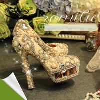 Baoyafang натуральная кожа Для женщин свадебные туфли цвета шампанского Кристалл цвета слоновой кости с жемчугом Свадебная вечерняя обувь женс