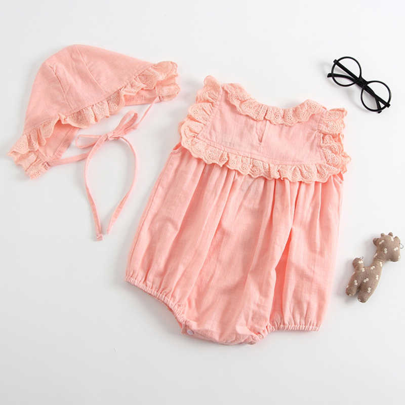 Newborn Baby Girls Rompers Clothes Cotton Solid White Pink Colour Lace Romper High Quality Boutique Toddler Baby Girls Costume