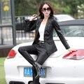 Mulheres jaqueta de couro 2017 nova moda de couro mulheres casaco de couro short slim motocicleta clothing outerwear mulher negra z928