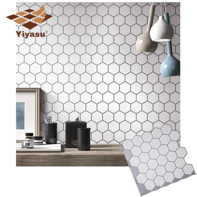 Hexagon Off White Vinyl Sticker Self Adhesive Wallpaper 3D Peel And Stick Square Wall Tiles For Kitchen And Bathroom Backsplash