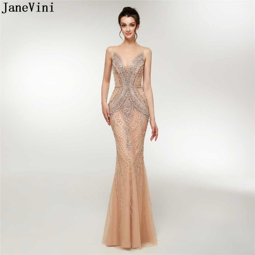 JaneVini Luxury Dubai Arabic Mermaid Mother of The Bride Dresses Sexy Tulle Crystals Beading Sheer Back Long Evening Party Gowns