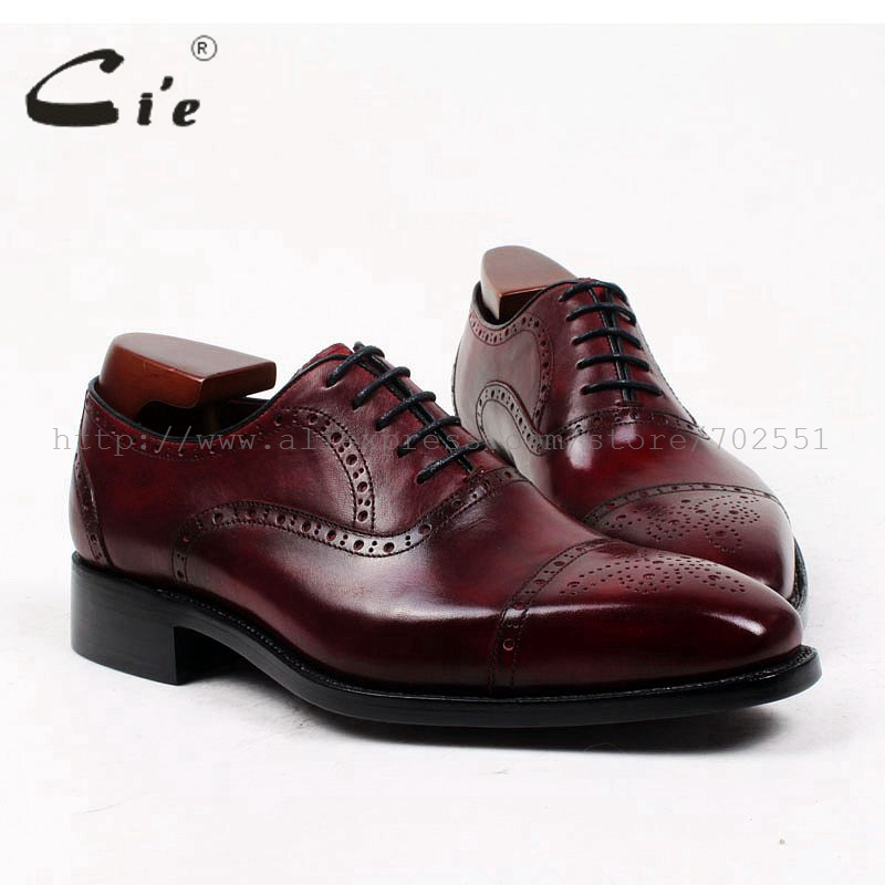 cie square toe bespoke mens shoe custom handmade genuine calf leather upper inner outsole men's dress oxford shoe OX404 Goodyear good quality goodyear handmade genuine leather upper outsole insole black color cement craft brogues square toe shoe no ox643