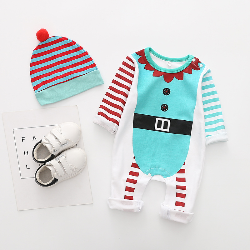 New Christmas clothes baby rompers Boy Girl Kids Romper Hat Cap Set santa claus baby costume Christmas Gift newborn | Happy Baby Mama