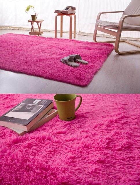 Light Pink/Hot Pink 140x200cm Anti Skid Soft Fluffy Shaggy Home Area Rug  Dining Room Carpet Comfy Bedroom Floor Mat Bath Rug