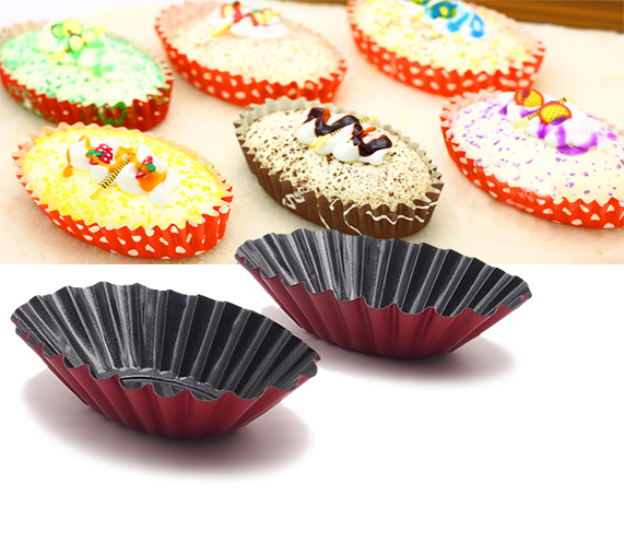 12 picec Fluted Design Oval Shape Tart Mold  Tartlet Tins