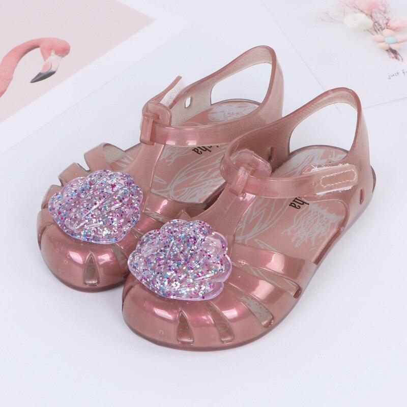 Mini Melissa 2018 New Summer Flash Shell Girls Jelly Sandals Children Shoes Baby Sandals Non-slip Melissa Princess Beach Sandals
