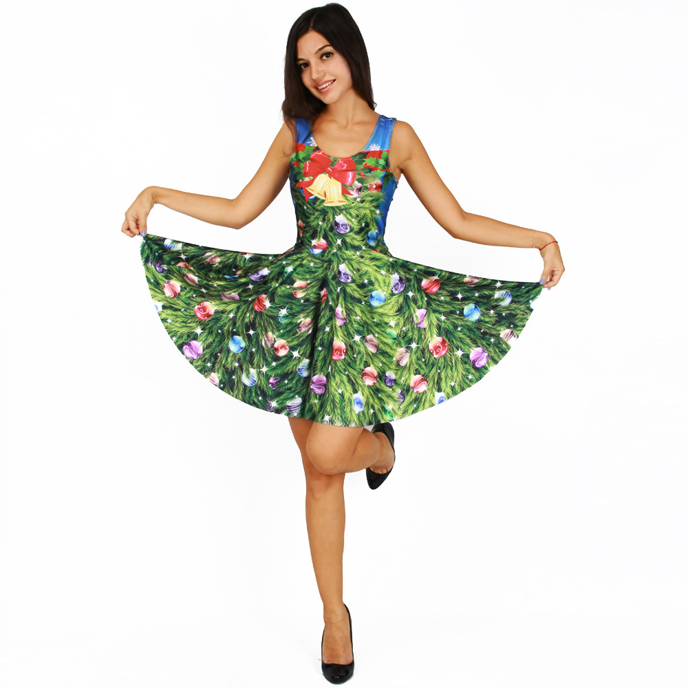 new women christmas dress festive bells trees flower 3d printed sexy party dresses sleeveless tank pleated dress vestidos in dresses from womens clothing