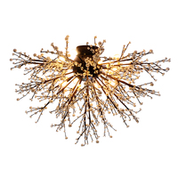 Modern Industrial Retro Iron G4 LED Chandelier Lamp Nordic Fireworks Home Deco Flower Tree Chandeliers Light Fixture AC110 240V