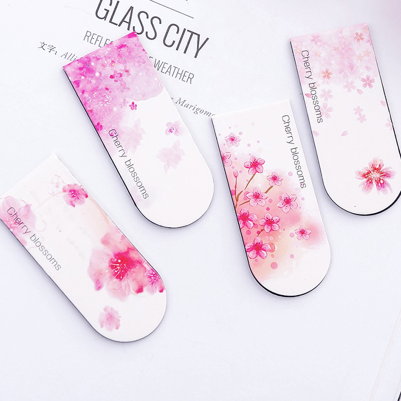 4pcs/lot Aesthetic Cherry Blossom Magnetic Bookmark Gift Stationery Film Bookmarks Book Holder Message Card School Supplies