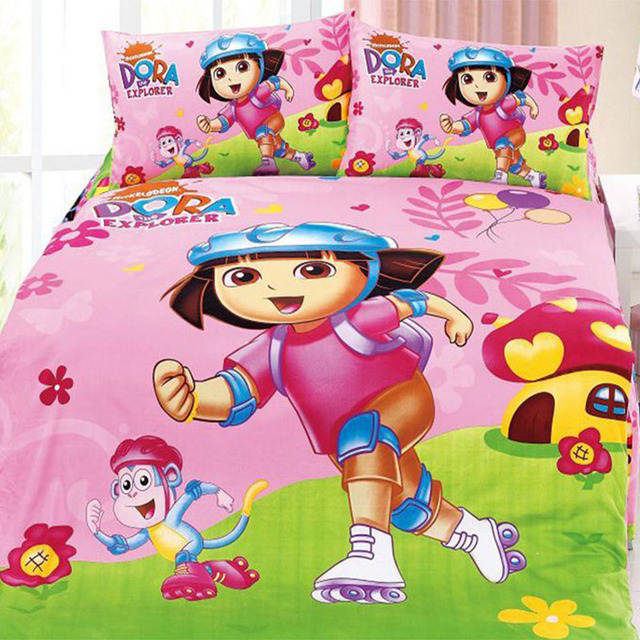 cute kids dora bedding sets duvet cover bed sheets for twin full size bed children - Kids Full Sheets