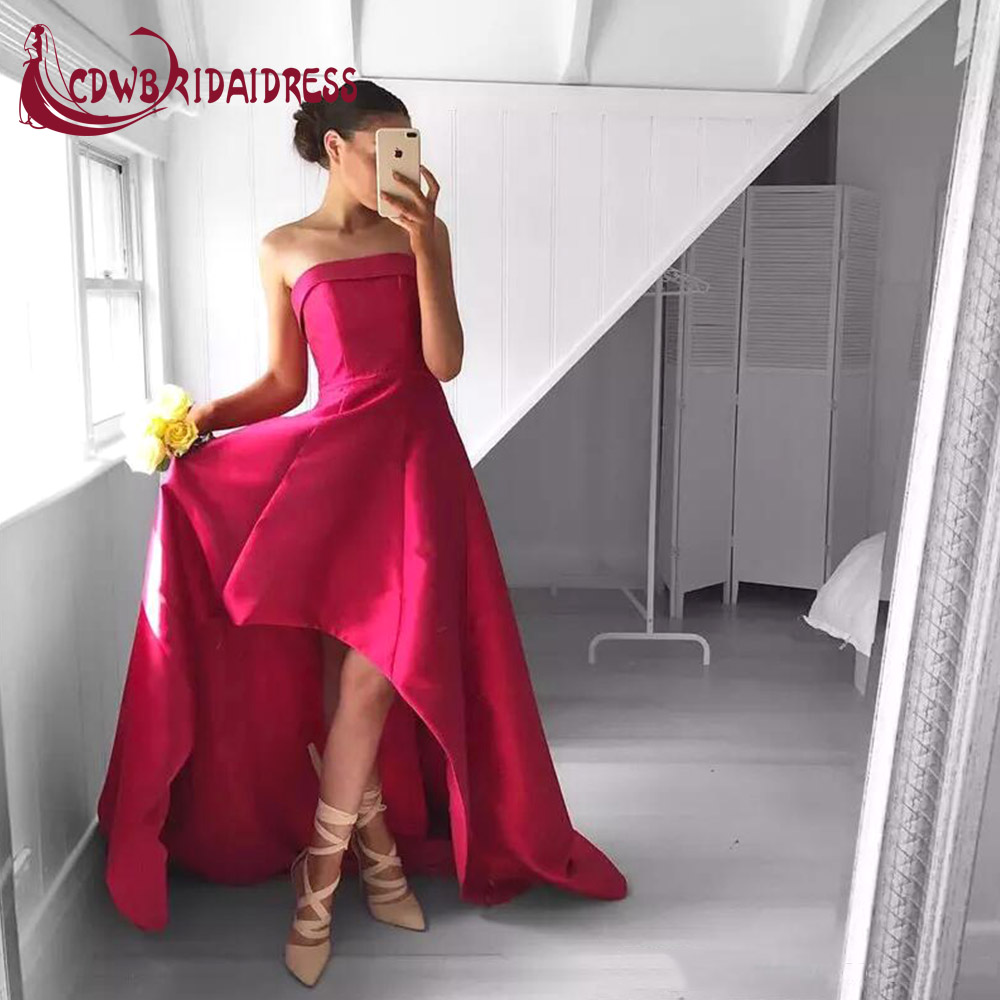 Fabulous Strapless High Low Fuchsia Pleated Prom Dresses Satin Sweep ...