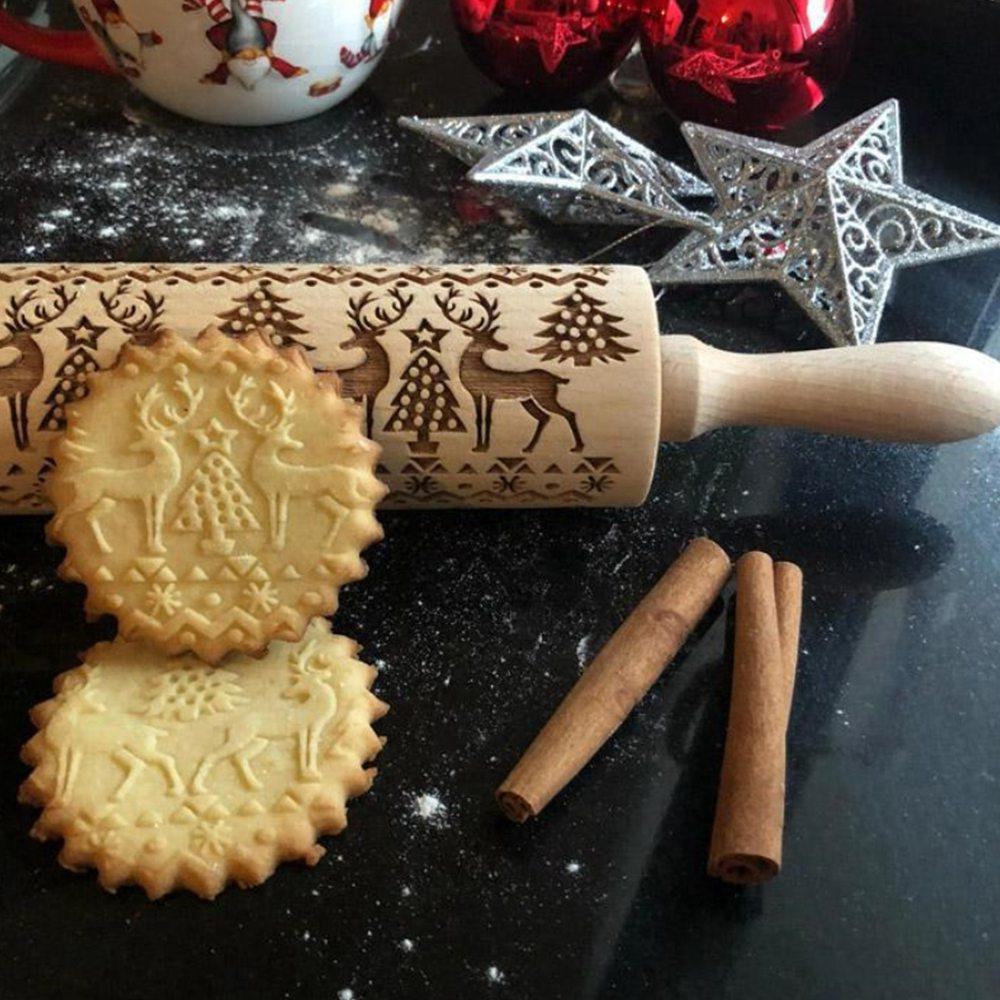 35/43 cm Navidad Rolling Pin Baking Cookies Biscuit pasta relieve Rolling Pin herramienta de cocina