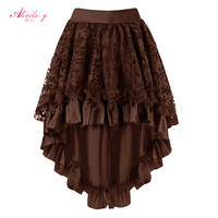 Alivila Y Fashion Womens Brown Floral Tulle With Satin Lace Ruffle Pleated Midi Gothic Victorian Skirt
