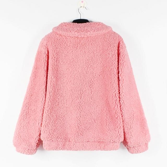 Joineles Brand Autumn Faux Lamb Women Coat Lapels Zipper Pockets Loose Casual Jackets Outwear Fluffy Warm Thick Wide Waist Coats