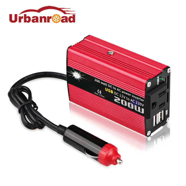 Urbanroad Modified Sine Wave Auto Inverter 12v Car 200w 220v Charger Converter Adapter