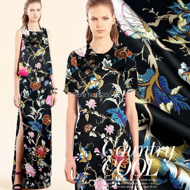 High Quality 2017 New Fashion Summer Formal Dress Black Digital Printing Flowers Fabric Super Heavy Stretchy Silk Fabric Wide