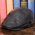 Мужская кепка с козырьком из натуральной кожи  новинка 2017  черная  коричневая шапка из мягкой кожи  для взрослых  вождения  дальнобойщика  ох...