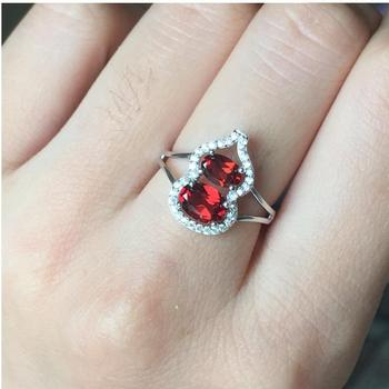 Garnet ring Free shipping Natural real red garnet 925 sterling silver Fine jewelry Gem 7mm