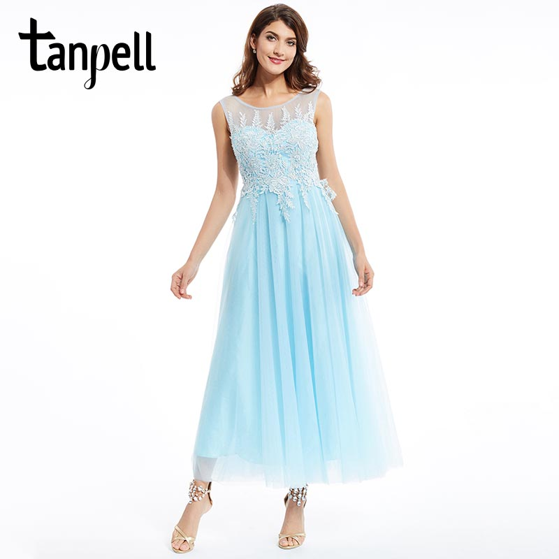 Tanpell sexy backless   prom     dress   blue scoop sleeveless ankle length a line   dresses   back zipper up appliques graduation   prom   gown