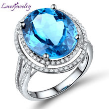 Vintage Engagement Rings 100% Natural Diamond And Oval Topaz Jewellery In Solid 14Kt White Gold (11x13mm)